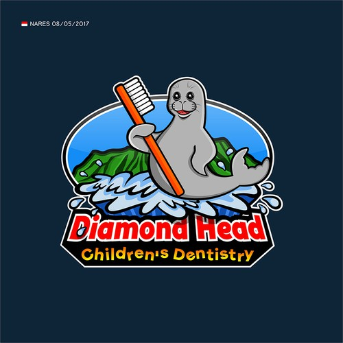 Diamond Head dentistry mascot logo illustration