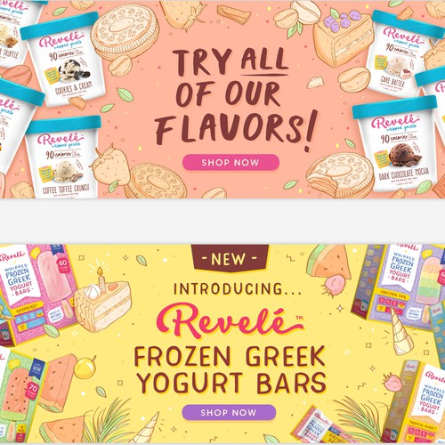 Website banners for an Ice Cream company