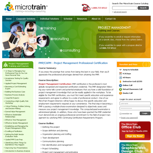 training company - website redesign 2.0 for www.microtrain.net