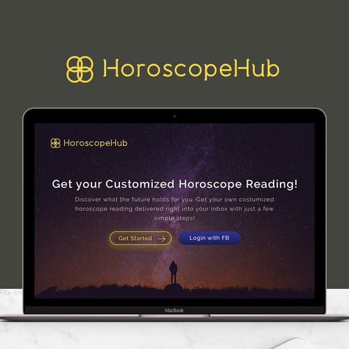 Simple, clean and modern landing page for HorscopeHub