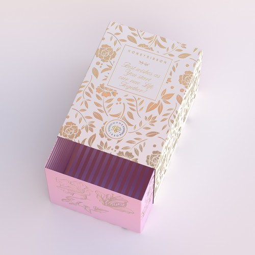 Wedding Box with Gold and Pink