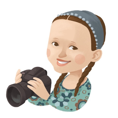 Cartoony version of kids-photographer for website