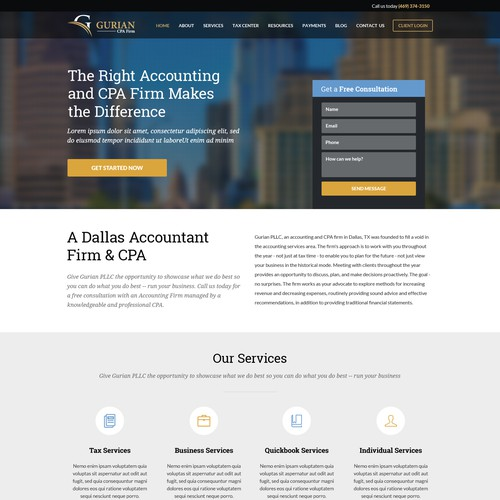 Website Landing Page for Gurian CPA Firm