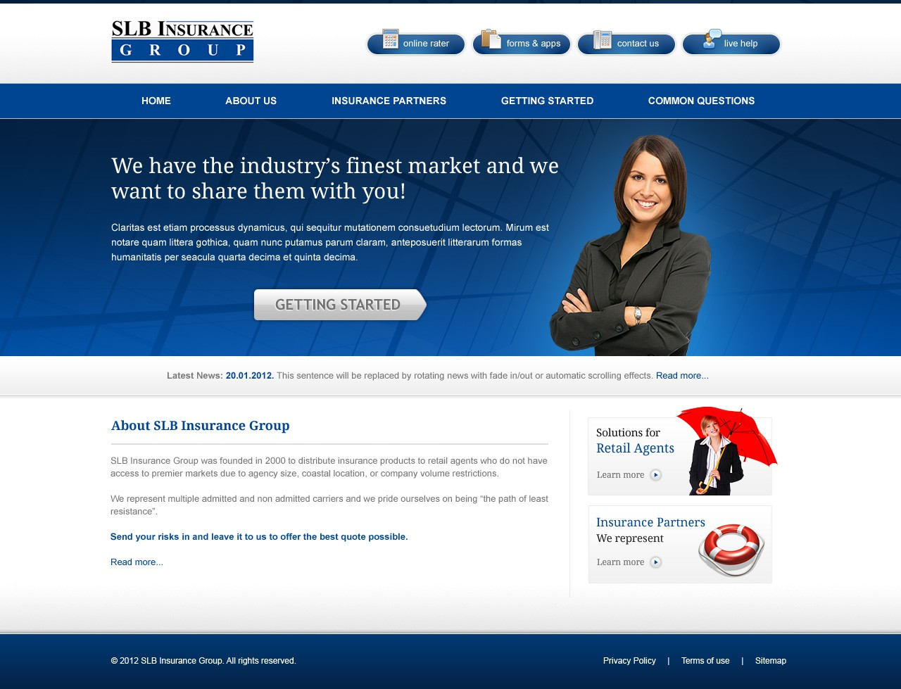 Create the next website design for SLB Insurance Group