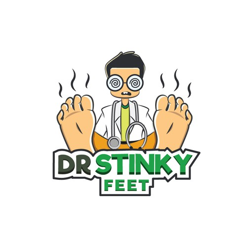 Playful Cartoon Logo of Dr Stinky Feet