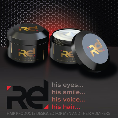 Bold and Masculine advertisement design for hair products.
