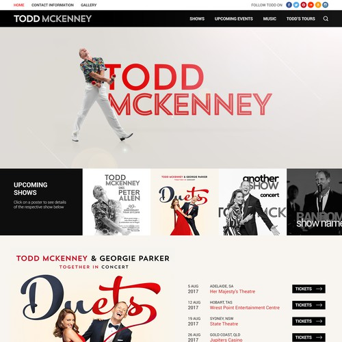 Concept Design for Todd McKenny's Official Website