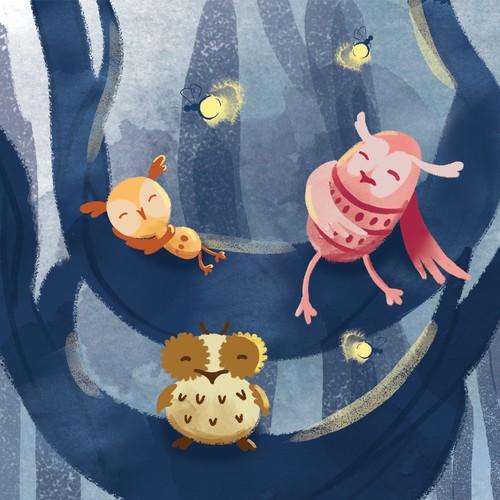 Little owls - children's book illustration