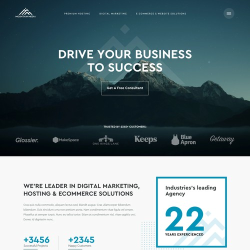 Home page design concept for marketing agency