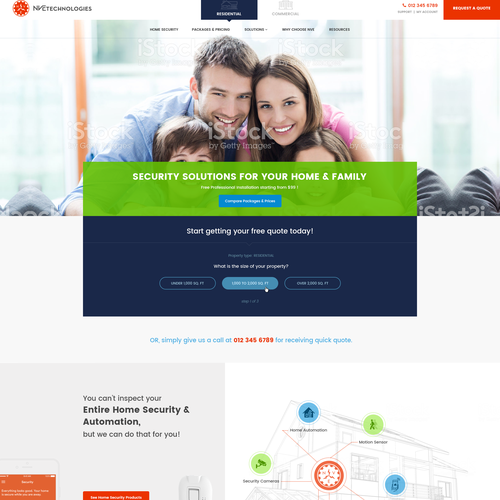 Homepage design proposal for Automated Home & Residential Solution