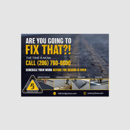 Design an powerful promotional postcard for Pacific Pavement Protection