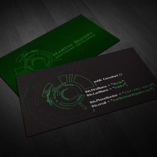 Business card for software developer