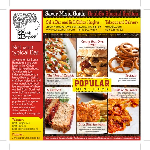 Design a Sophisticated but user friendly Menu and Restaurant Listing for Magazine