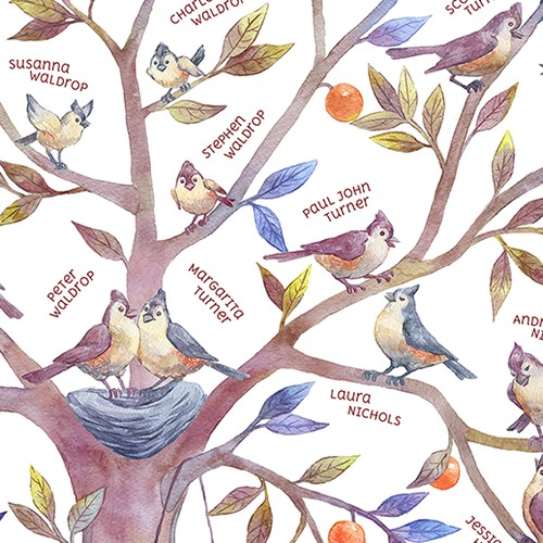 Family tree watercolor illustration