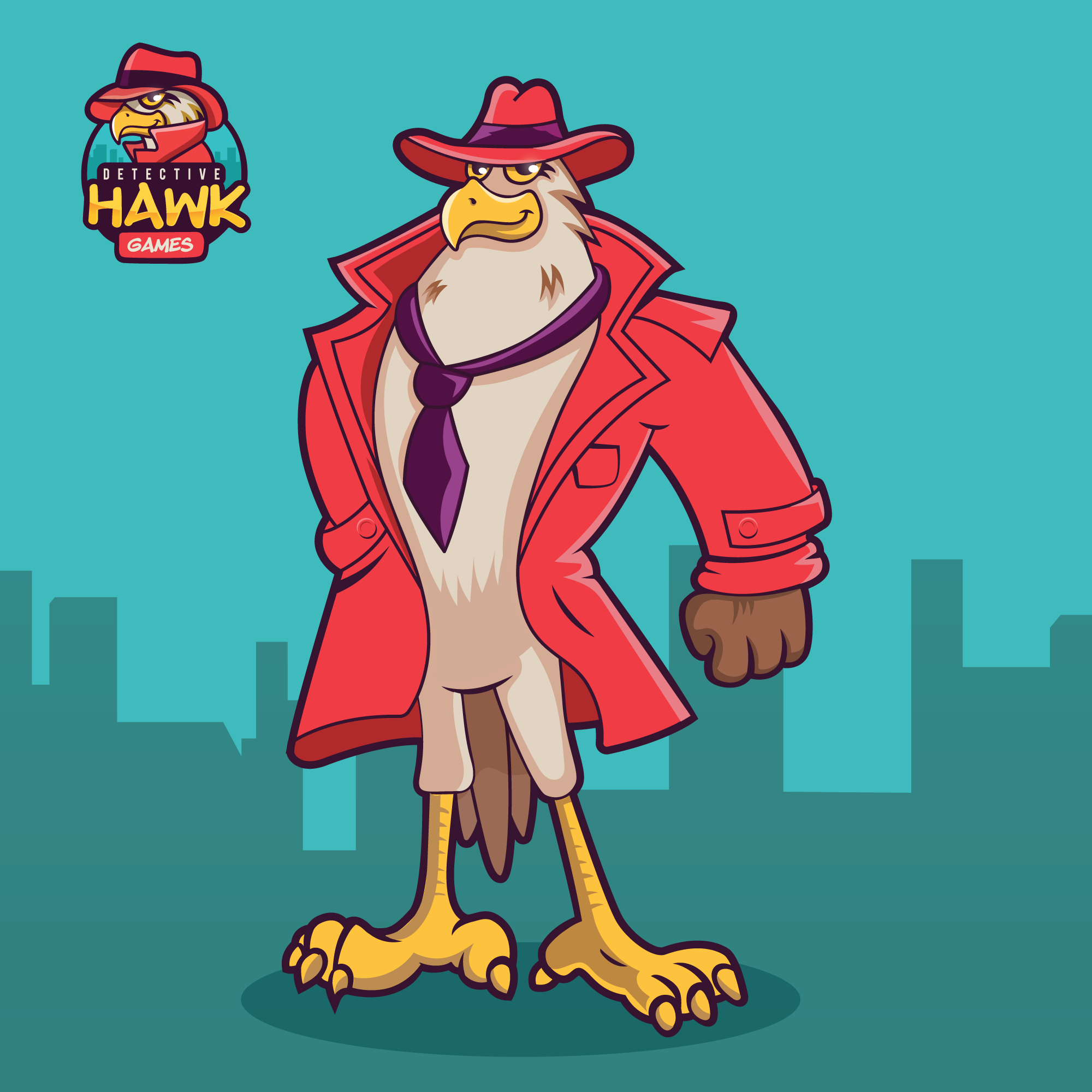 Detective Hawk Character Design and Pose