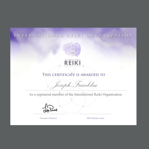Distinct Certificate Template Needed for Reiki Association