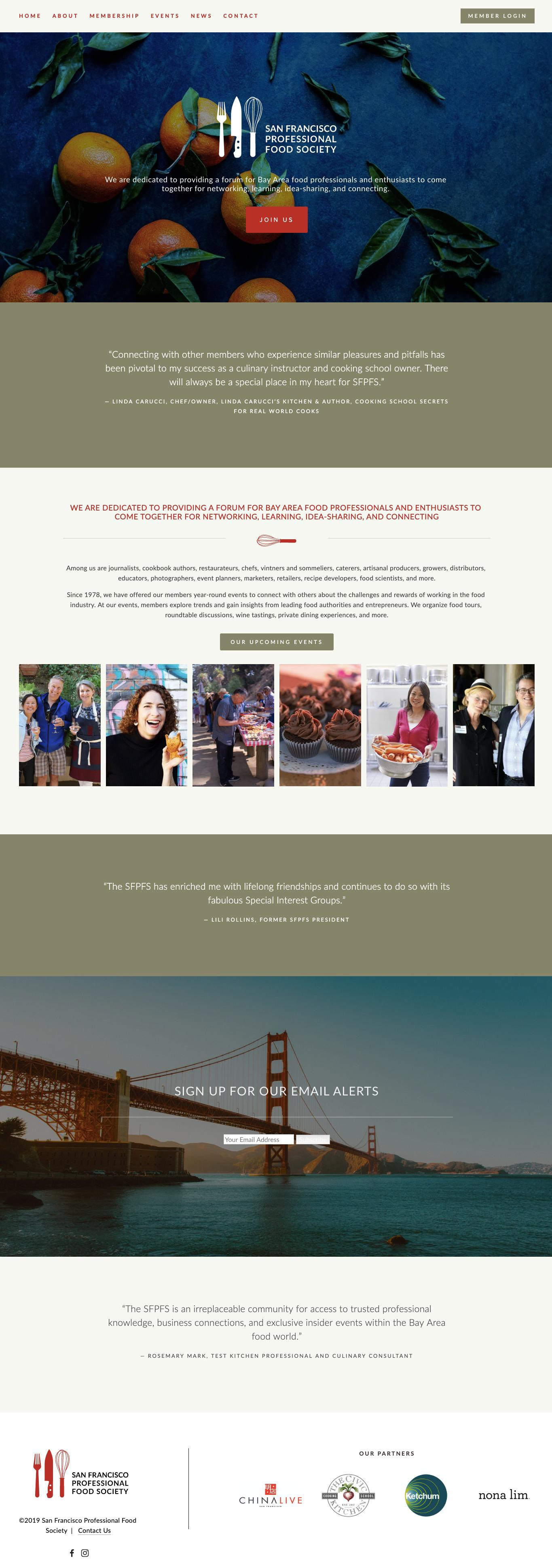 San Francisco Professional Food Society Website Redesign