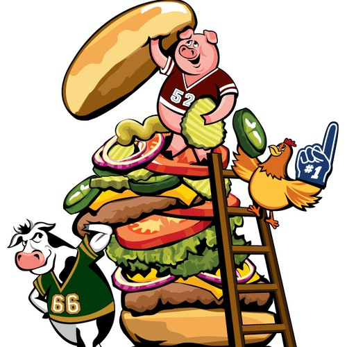 Cartoon Illustration - Farm Animals Building a Hamburger