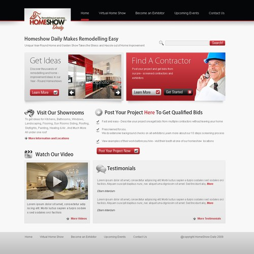 Home Page Redesign for busy Home Improvement Site