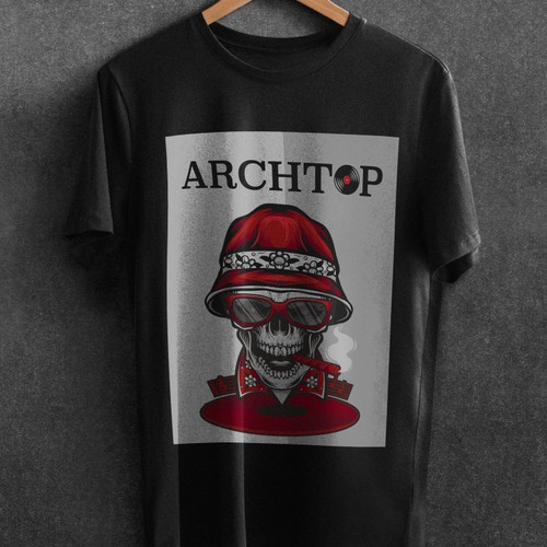 t-shirt design in that features a skull with vinyl records