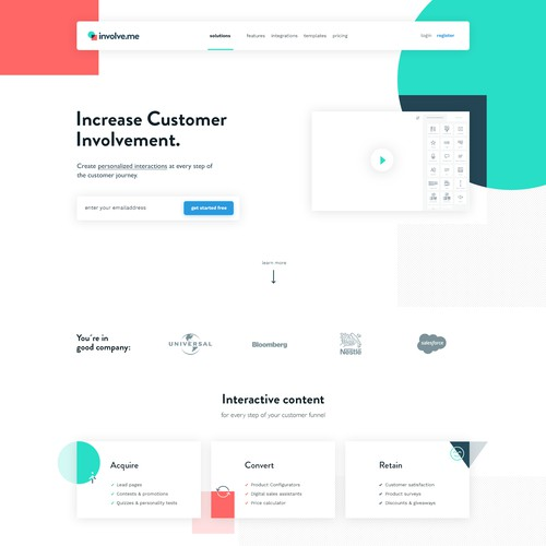 Landing page for involve.me