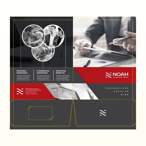 Double pocket folder design for NOAH INSURANCE GROUP
