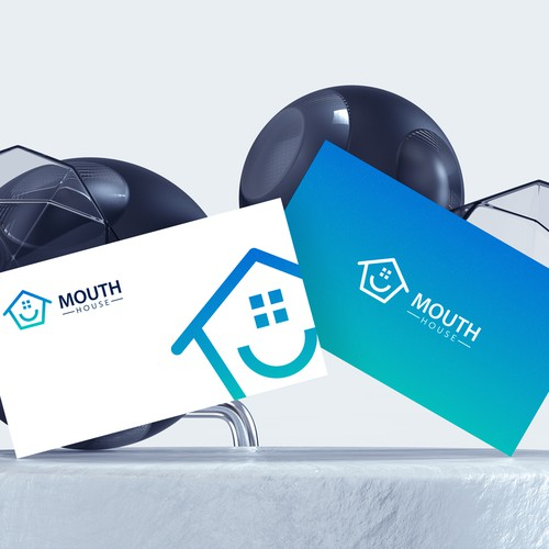 Mouth and house logo design