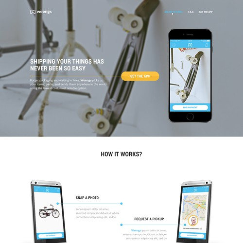 Homepage for shipping website