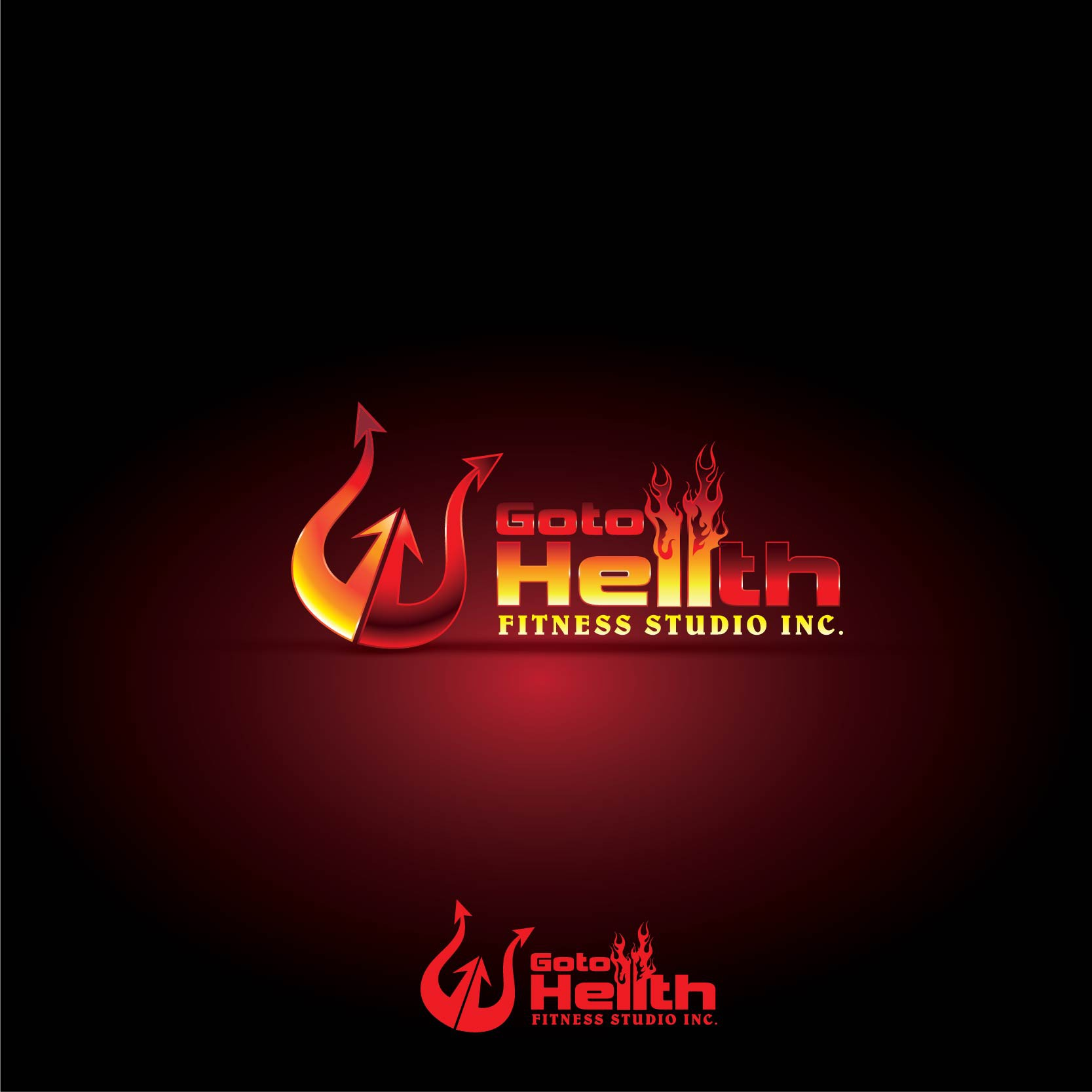 Create the next logo and business card for Go to Hellth Fitness Studio