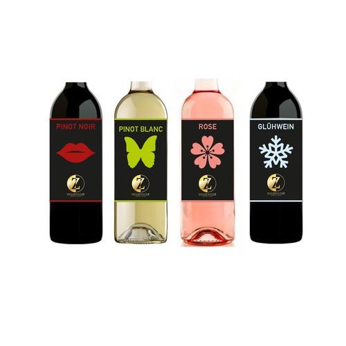 Weinetikett für verschiedene Weine