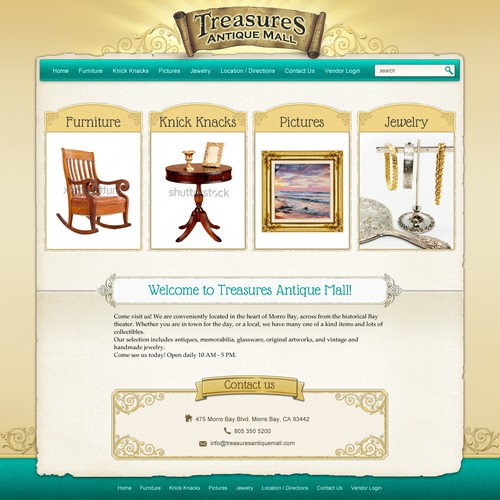 Create the next website design for Treasures Antique Mall