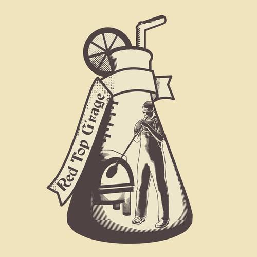 Vintage logo for glass maker garage