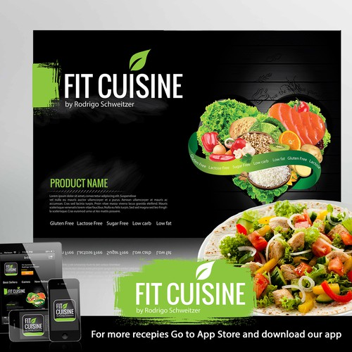 """Logo and package for  brand """"Fit Cuisine"""" (Frozen food)"""