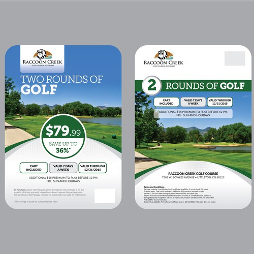 Golf Course flyer that advertises a special offer