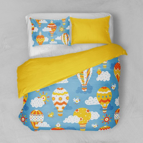Bed linen textile pattern for children to both genders