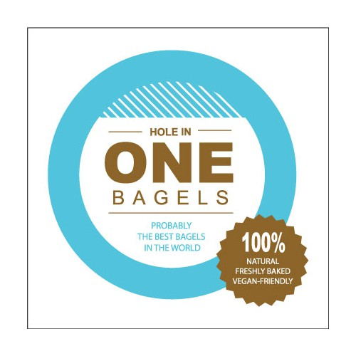 Create the next product label for Hole in One Bagels