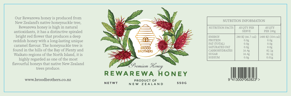 Honey label with different honey varieties native to New Zealand.