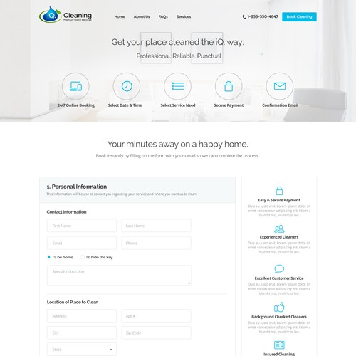 UI - UX Design for iQ Cleaning Services