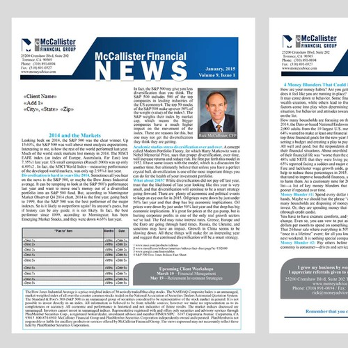 Create a new newsletter design for McCallister Financial Group