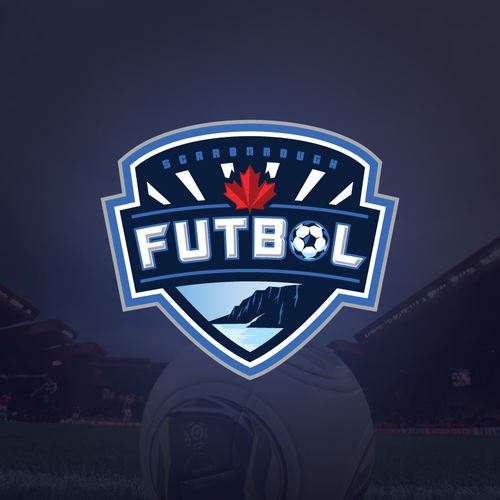 Soccer / Futbol logo incorporating Soccer ball, Bluffs & Water