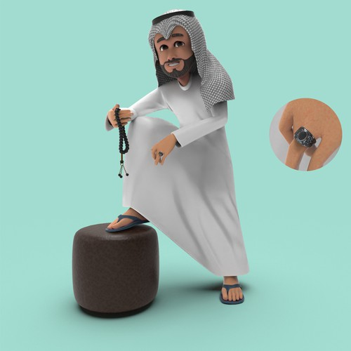 cartoon arabic 3d model
