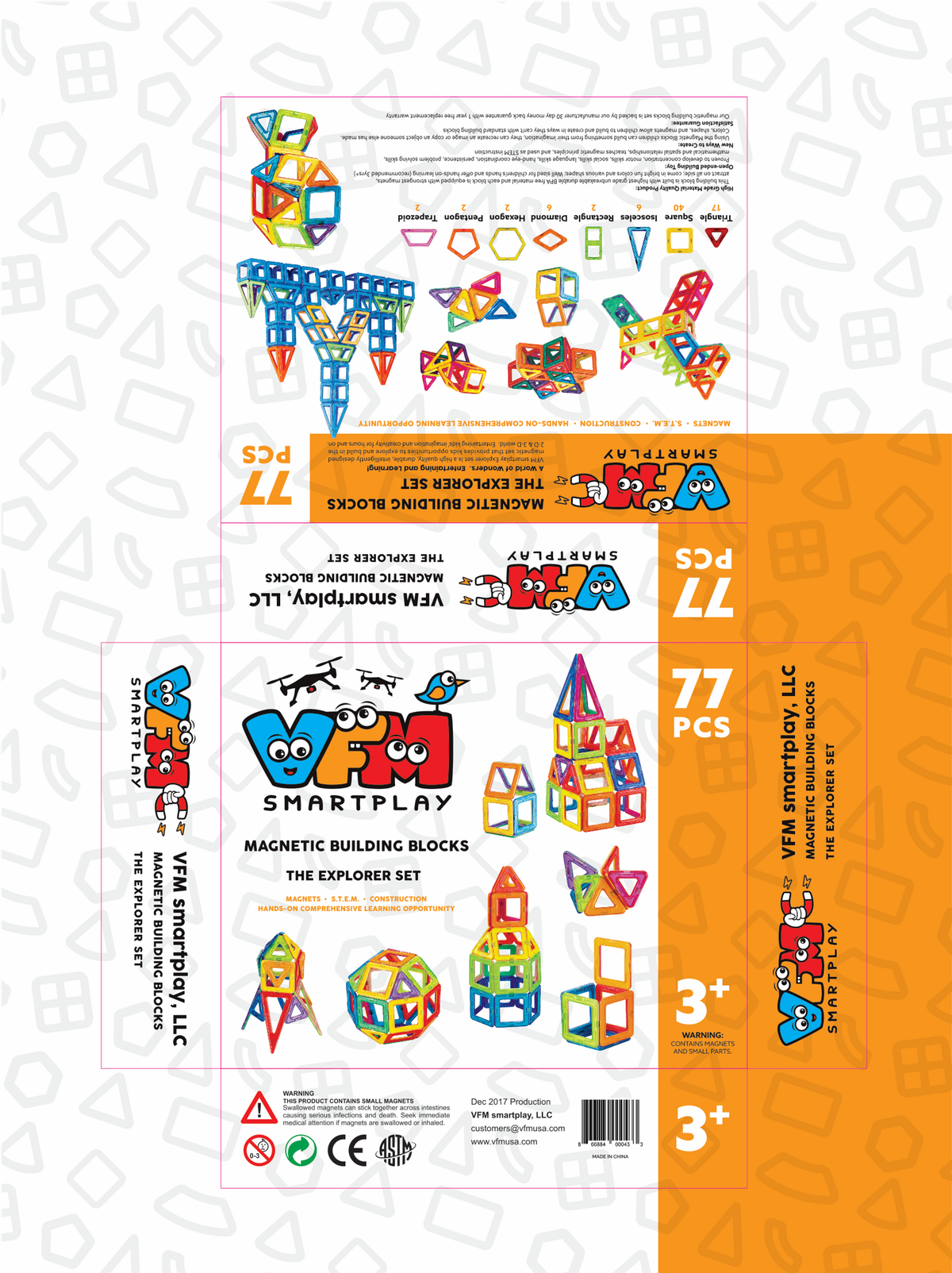 Packaging for the VFM smartplay magnetic building block toys