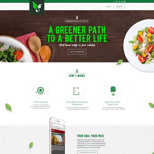 Appetizing Landing Page for a Plant-Based Eating Platform