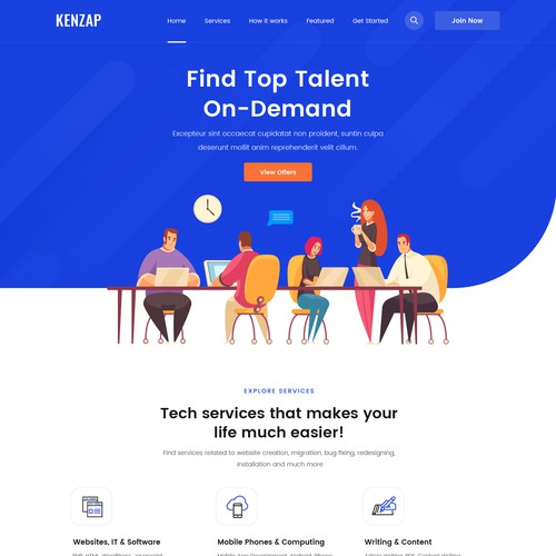 Top talent marketplace homepage design