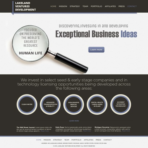 Create the next website design for Lakeland Ventures Development