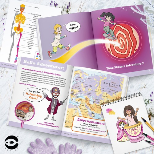 Interior book design and illustrations for Adventure 2 - The Skeletal System by Know Yourself PBC