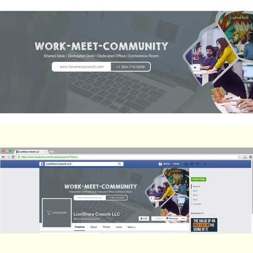 A clean and simple Facebook cover for a co-working space