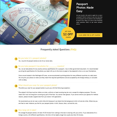 Landing Page Design for - Passport / visa