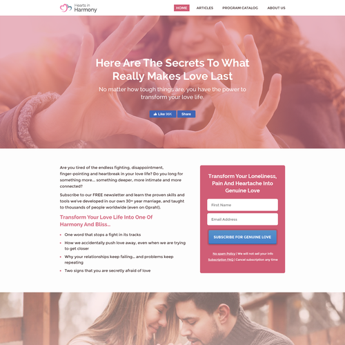 Hearts in Harmony Landing Page