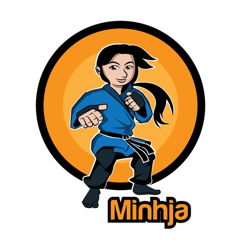 mascot logo for girl jiu jitsu